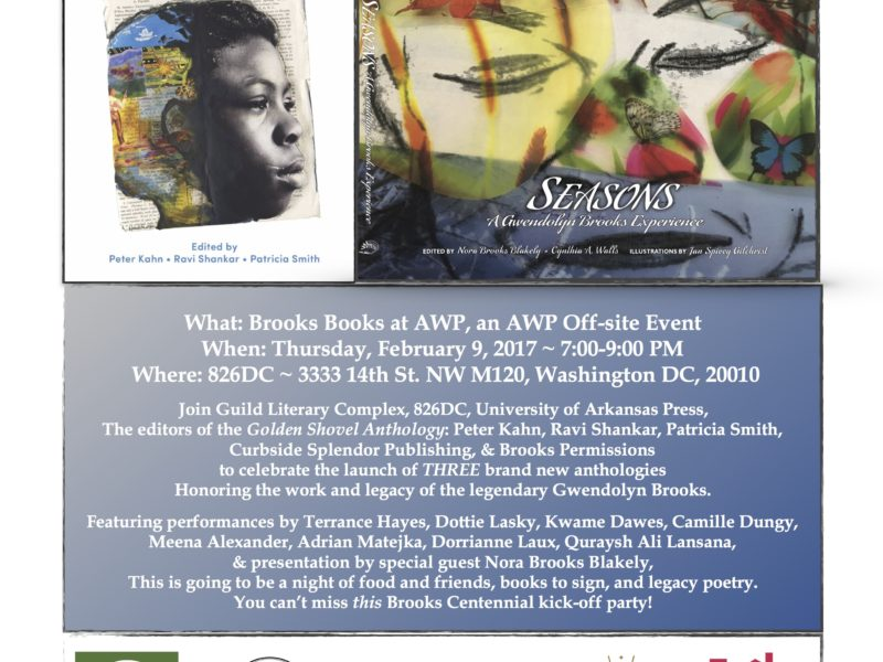 February 9th, Washington DC: Brooks Books at AWP with Guild Complex, Brooks Permissions, and The Golden Shovel Anthology