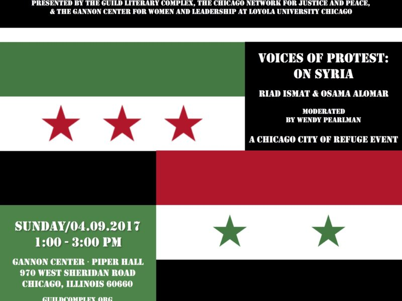 Voices of Protest: On Syria, a Chicago City of Refuge Event, April 9th