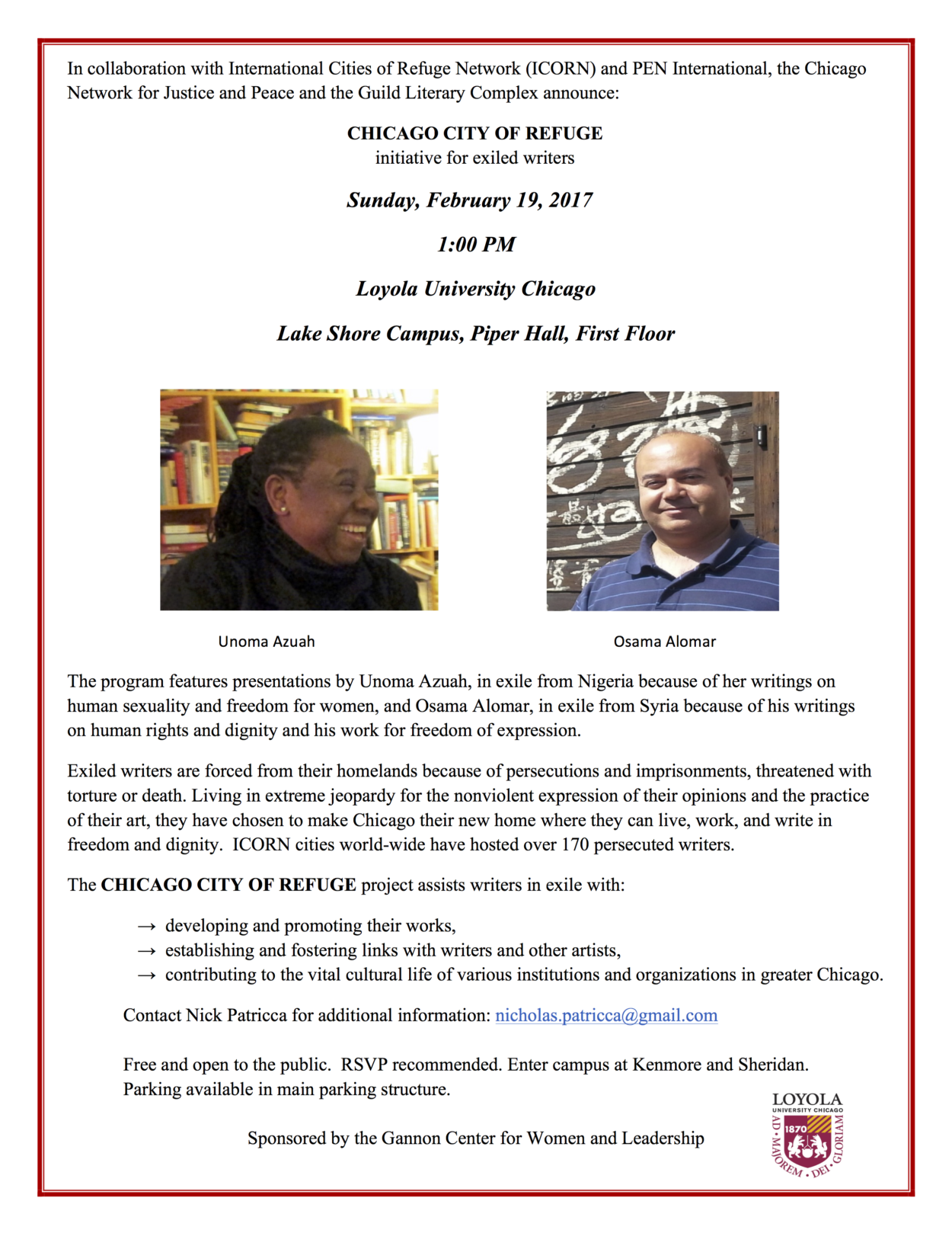 Chicago City of Refuge, A Voices of Protest Event, February 19th, 2017