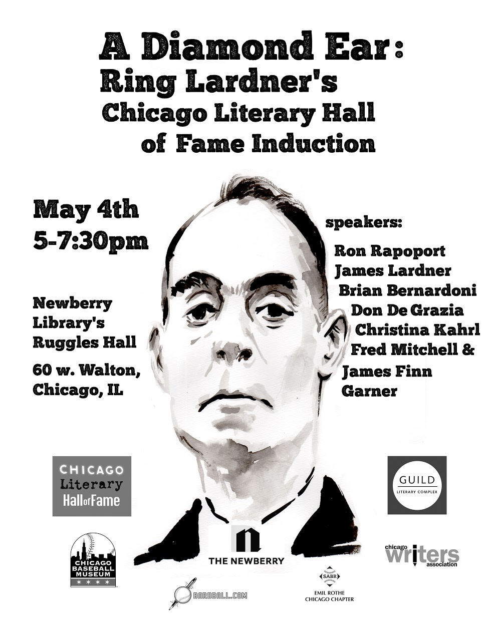A Diamond Ear: Ring Lardner's Induction to the Chicago Literary Hall of Fame, Co-Sponsored by Newberry Library, Guild Literary Complex and more!